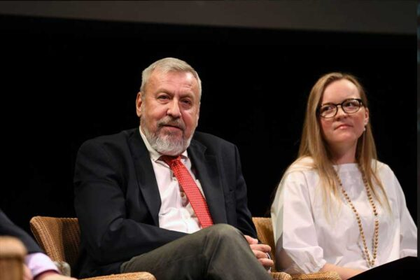 Belarusian opposition leader, Andrei Sannikov and Estonian Memory Institute Board Member, Sandra Vokk at the 2019 Black Ribbon Day Conference.