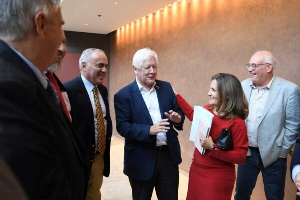Garry Kasparov, Bob Rae and Minister of Foreign Affairs, Chrystia Freeland at MRP 80/Black Ribbon Day Conference 2019